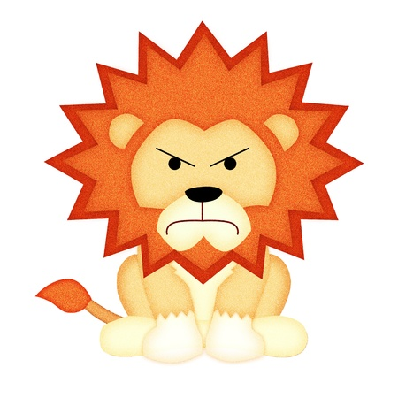 Applique work in the form of angry lion from a fabric  photo