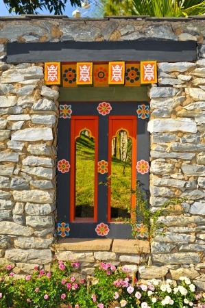 Tibetan entrance door Stock Photo - 13122282