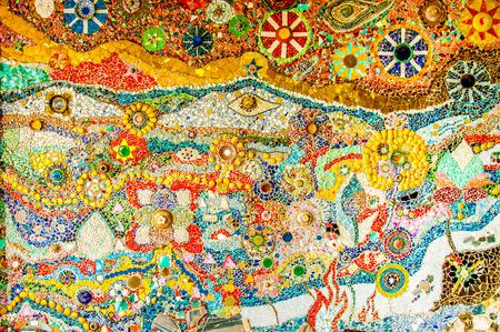 mosaic floor: Art mosaic glass on the wall
