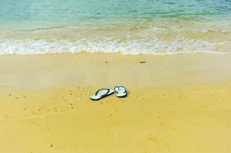 flip flop: Flip flop on the beach Stock Photo