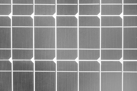 Industrial photovoltaic installation Solar power in black and white.