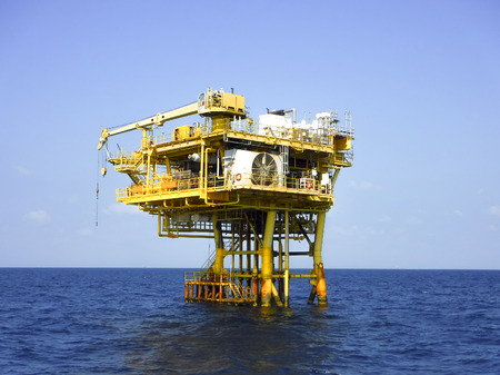 Remote platform operate at the ocean. Oil&Gas