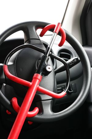 car lock: car lock on the driver steering to prevent theft