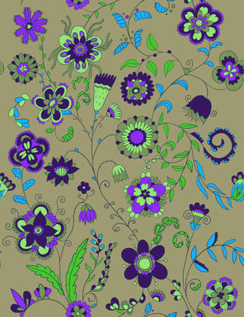 A seamless pattern with floral elements Vector