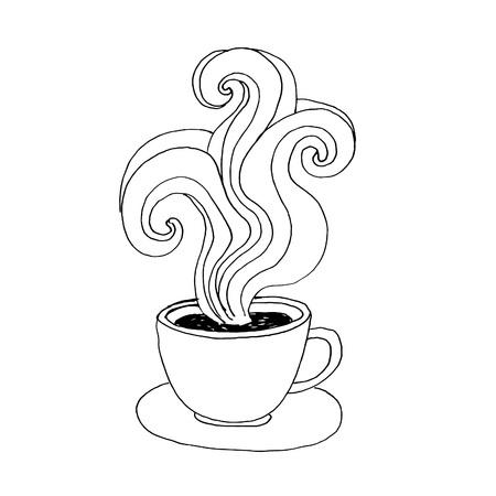 hot cup: hand-drawn hot coffee cup, sketch, invitation, greeting card, menu