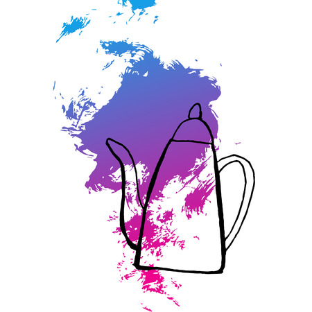 to boiling: boiling teapot, hand drawn sketch