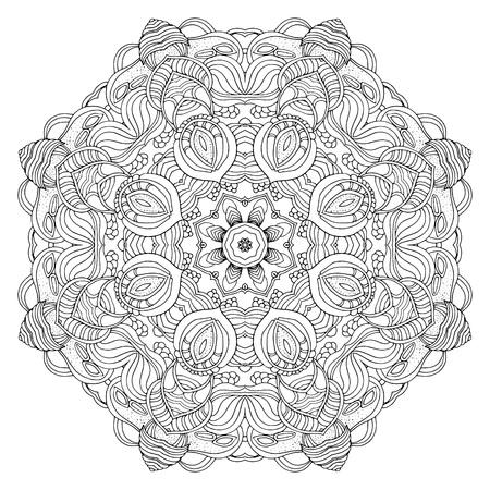 Runde Verzierung, Mandala, Ethnischer Dekoratives Element, Boho-Stil ...