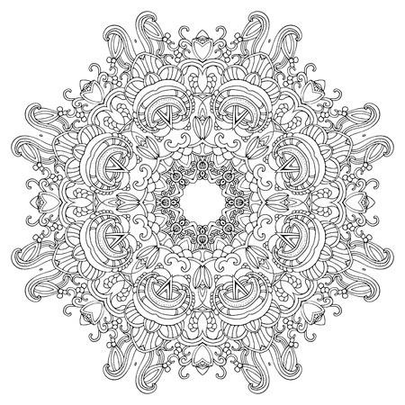Runde Verzierung für Malbuch für Erwachsene und Kinder. Mandala, ethnische dekoratives Element. Schwarz und weiß. Vielleicht für Einladungen, Postkarten, Drucke verwendet