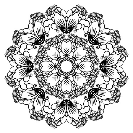 Round ornament for coloring book for adults and kids. Mandala, ethnic decorative element. Black and white. Maybe used for invitations, postcards, prints