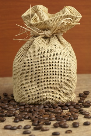 Canvas bag filled with roasted coffee beans