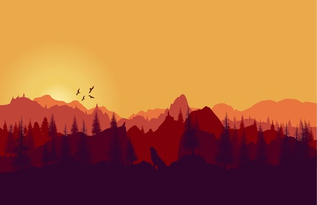 rockies: Vector landscape. Panorama of mountains sunset