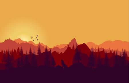 Vector landschap. Panorama van de bergen zonsondergang Stock Illustratie