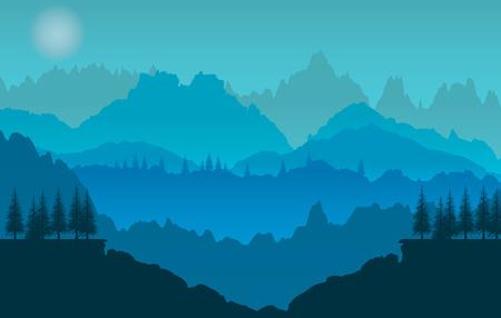 mountain silhouette: Blue sunset of mountains panorama Illustration