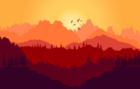 Vector  background. Colorful sunset of mountains