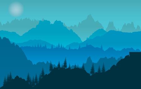 panorama: Blue sunset of mountains panorama Illustration