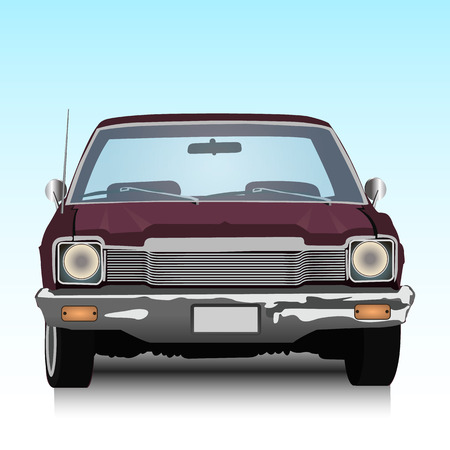 collectors: Old American car, vector illustration
