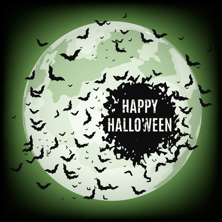 Vector illustrations of halloween night with bats flying over blue moon.