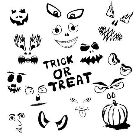 Set of spooky and funny, monsters faces. Ilustração