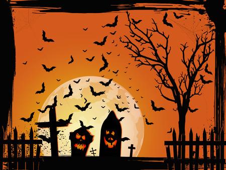 Grunge Halloween cemetery background