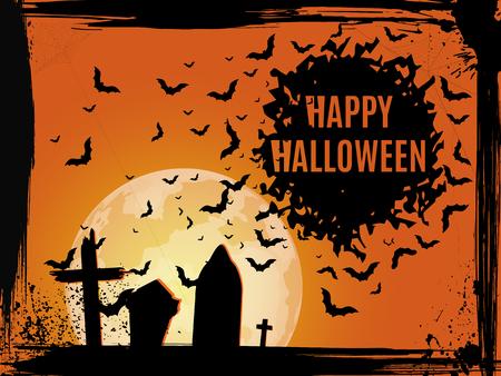 Grunge Halloween cemetery background. Happy Halloween