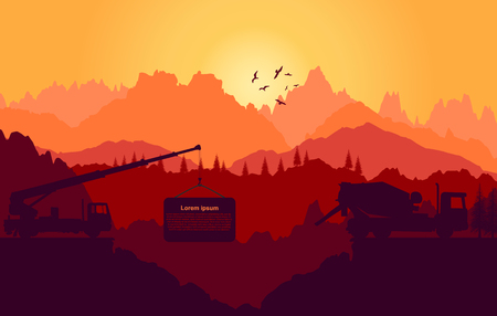 heavy industry: Vector landscape. Panorama of mountains.