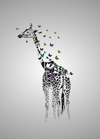 Vector silhouette of  giraffe with butterfys