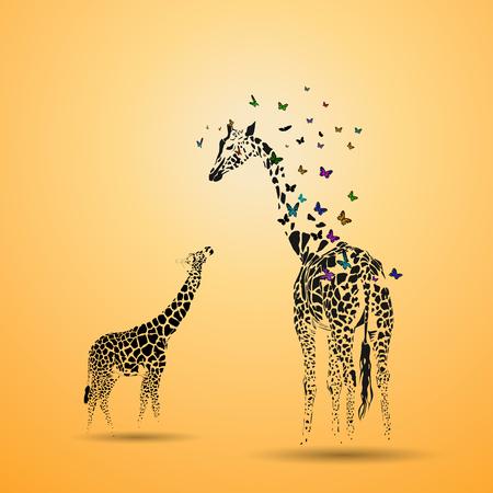 Vector silhouette of  giraffe with her baby. Ilustração