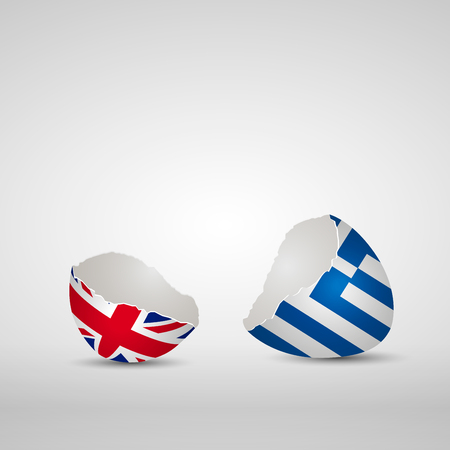 england politics: Cracked egg shell, one side with flag of United Kingdom and other one with flag of Greece