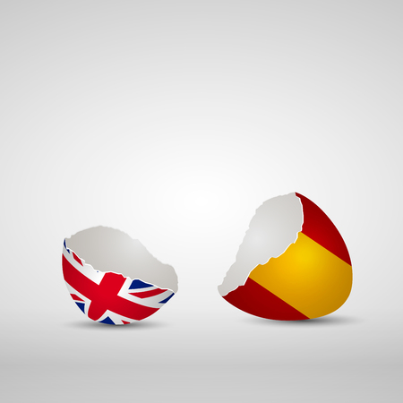 Cracked egg shell, one side with flag of United Kingdom and other one with flag of Spain