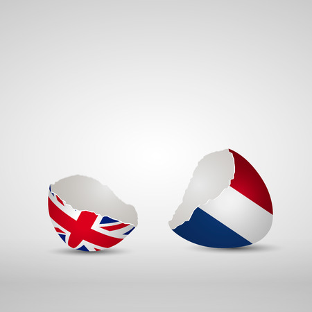 Cracked egg shell, one side with flag of United Kingdom and other one with flag of Netherlands