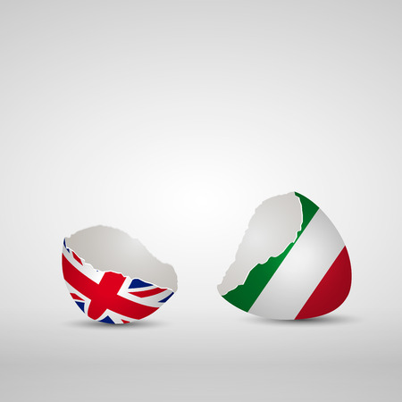 Cracked egg shell, one side with flag of United Kingdom and other one with flag of Italy