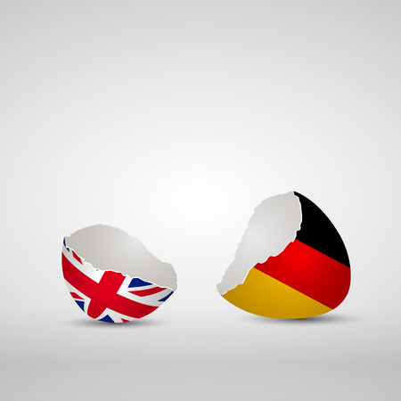 Cracked egg shell, one side with flag of United Kingdom and other one with flag of Germany