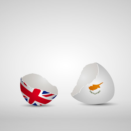 Cracked egg shell, one side with flag of United Kingdom and other one with flag of Cyprus Ilustração