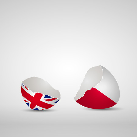 Cracked egg shell, one side with flag of United Kingdom and other one with flag of Poland