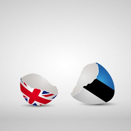 Cracked egg shell, one side with flag of United Kingdom and other one with flag of Estonia