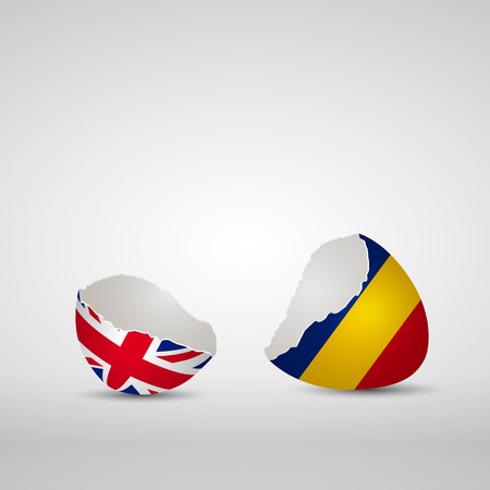 england politics: Cracked egg shell, one side with flag of United Kingdom and other one with flag of Romania Illustration