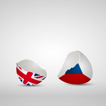 Cracked egg shell, one side with flag of United Kingdom and other one with flag of Czech Republic Ilustração
