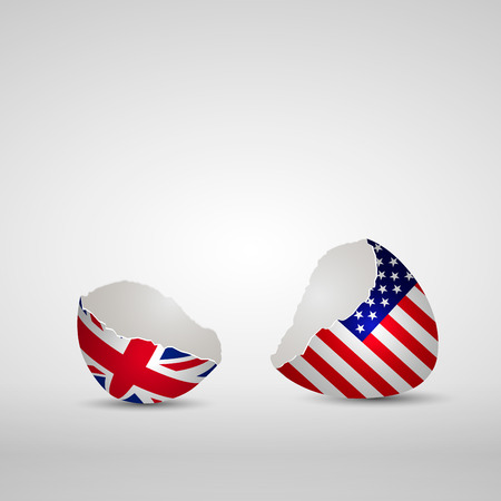 Cracked egg shell, one side with flag of United Kingdom and other one with flag of America
