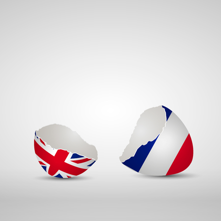 Cracked egg shell, one side with flag of United Kingdom and other one with flag of France