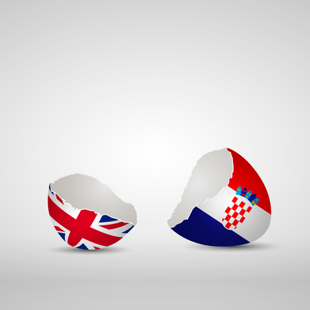 Cracked egg shell, one side with flag of United Kingdom and other one with flag of Croatia