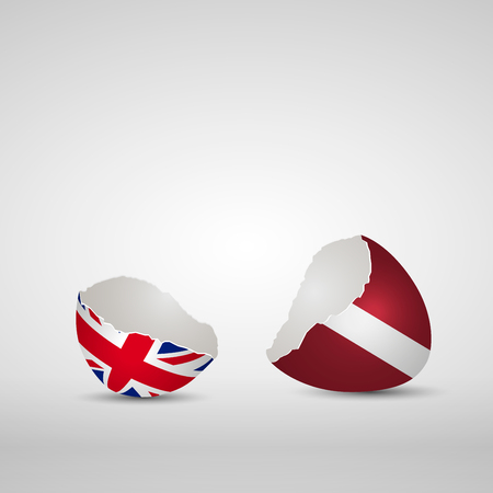 Cracked egg shell, one side with flag of United Kingdom and other one with flag of Latvia