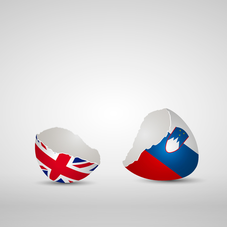 Cracked egg shell, one side with flag of United Kingdom and other one with flag of Slovenia