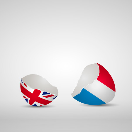 Cracked egg shell, one side with flag of United Kingdom and other one with flag of Luxembourg