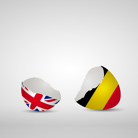 Cracked egg shell, one side with flag of United Kingdom and other one with flag of Belgium
