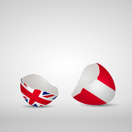 Cracked egg shell, one side with flag of United Kingdom and other one with flag of Austria Banco de Imagens - 63417484