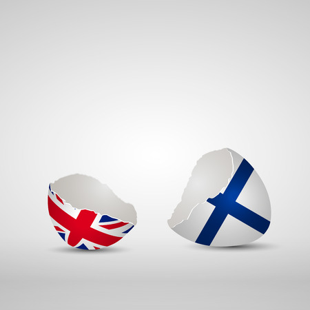 Cracked egg shell, one side with flag of United Kingdom and other one with flag of Finland Ilustração