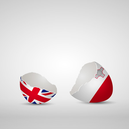Cracked egg shell, one side with flag of United Kingdom and other one with flag of Malta