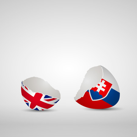 Cracked egg shell, one side with flag of United Kingdom and other one with flag of Slovakia