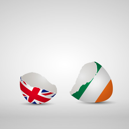 Cracked egg shell, one side with flag of United Kingdom and other one with flag of Republic of Ireland