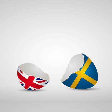 Cracked egg shell, one side with flag of United Kingdom and other one with flag of Sweden Ilustração